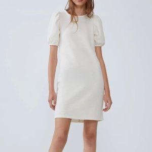 Zara textured cream dress